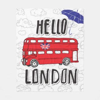 Couverture Polaire Bonjour signe en lettres de main de Londres | avec