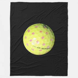 Couverture Polaire Boules de golf jaunes sur le noir,