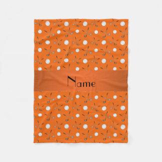 Couverture Polaire Boules de golf oranges nommées personnalisées