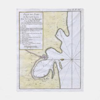 Couverture Polaire Carte vintage d'Acapulco Mexique (1764)