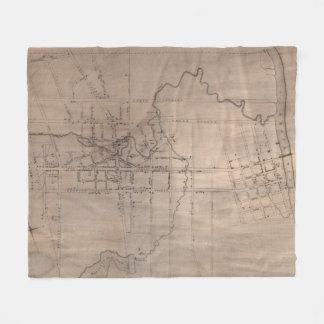 Couverture Polaire Carte vintage de Fayetteville la Caroline du Nord
