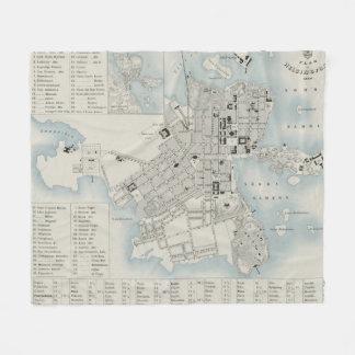 Couverture Polaire Carte vintage de Helsinki Finlande (1860)