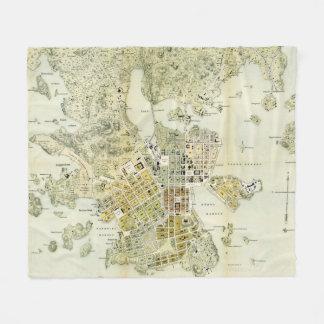 Couverture Polaire Carte vintage de Helsinki Finlande (1876)