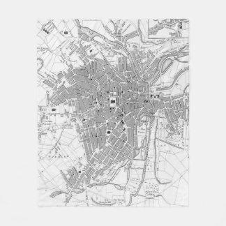 Couverture Polaire Carte vintage de Sheffield Angleterre (1823)