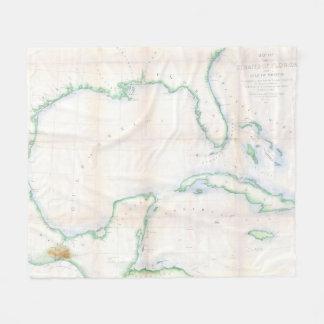 Couverture Polaire Carte vintage du Golfe du Mexique (1852)