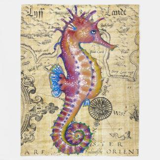 Couverture Polaire Carte vintage magenta d'hippocampe