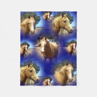 Couverture Polaire Cheval Collarge, petit bleu de palomino