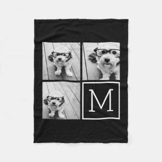Couverture Polaire Collage à la mode noir et blanc de photo avec le
