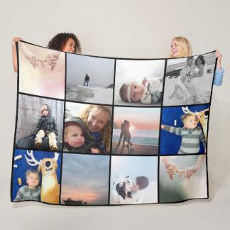Couverture Polaire Collage de photo de famille 12 photos carrées