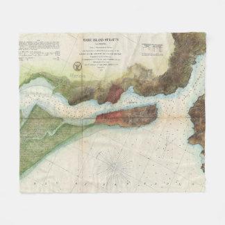 Couverture Polaire Détroit vintage d'île de jument et carte de