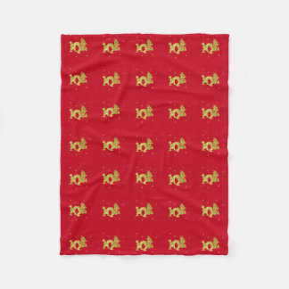 Couverture Polaire Dragon chinois d'or