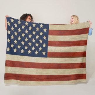 Couverture Polaire Drapeau vintage des Etats-Unis d'Amérique