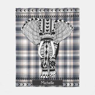 Couverture Polaire Éléphant modelé par tribal crème gris de plaid de
