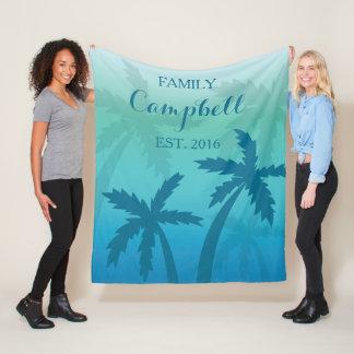 Couverture Polaire Famille faite sur commande tropicale de palmier