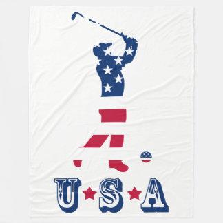 Couverture Polaire Golfeur de drapeau américain de golf des