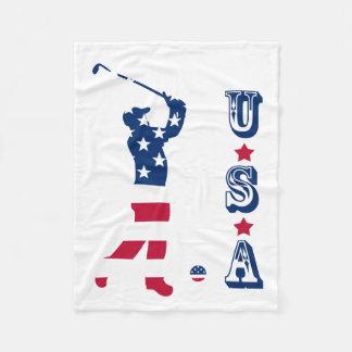 Couverture Polaire Golfeur de drapeau de l'Amérique de golf des