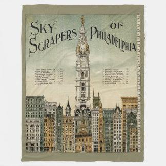 Couverture Polaire Gratte-ciel de la gravure vintage de Philadelphie