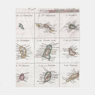 Couverture Polaire Îles vintages de la carte des Caraïbes (1780)