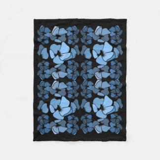 Couverture Polaire Impression florale bleue de minuit d'art déco
