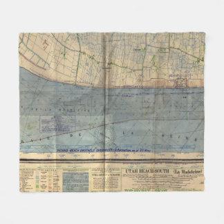 Couverture Polaire Invasion vintage Map (1944) de le jour J de plage