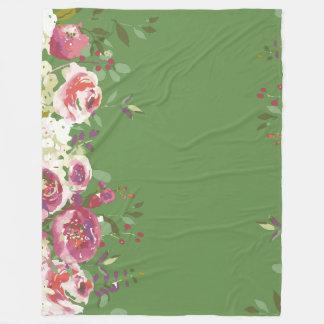 Couverture Polaire Jardin frais de roses peints à la main d'aquarelle