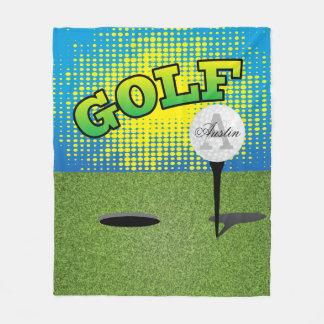 Couverture Polaire Jouer au golf sur le vert - monogramme