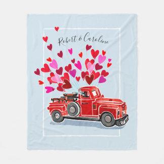 Couverture Polaire Le camion vintage de Valentine ajoutent des noms