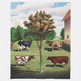 Couverture Polaire Le Holstein vintage, le Jersey, l'Ayrshire et le