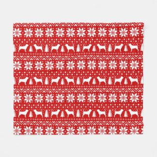 Couverture Polaire Le limier silhouette le motif de chandail de Noël