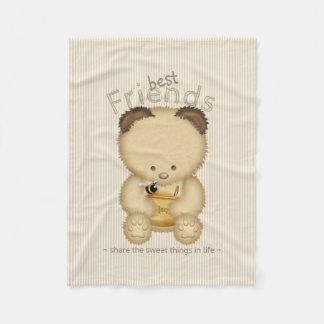Couverture Polaire Meilleurs amis mignons d'ours et d'abeille de miel