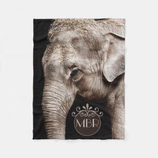 Couverture Polaire Monogramme d'image de photo d'éléphant