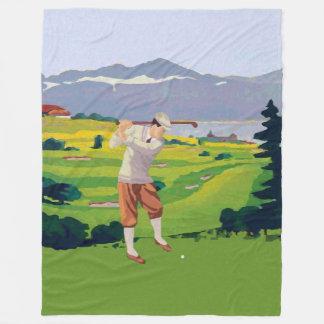 Couverture Polaire Montagnes vintages de style jouant au golf l'art