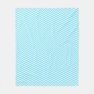 Couverture Polaire Motif bleu lumineux blanc en arête de poisson de