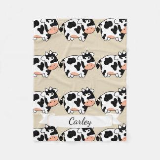 Couverture Polaire Motif et nom mignons de vache à bande dessinée en