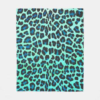 Couverture Polaire Noir de léopard et copie turquoise
