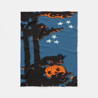 Couverture Polaire Noir orange de chat de lanterne de Jack O de