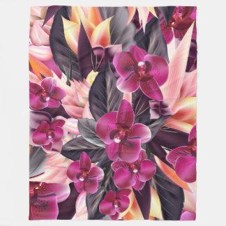 Couverture Polaire Orchidées. Conception tropicale avec de belles