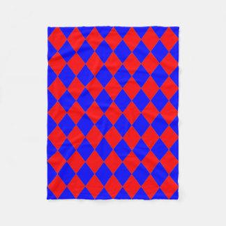 Couverture Polaire Ouatine Blanket_ rouge, diamants bleus