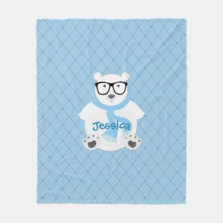 Couverture Polaire Ours blanc de hippie avec l'écharpe bleue, regard