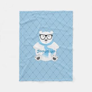 Couverture Polaire Ours blanc de hippie dans l'écharpe bleue, regard