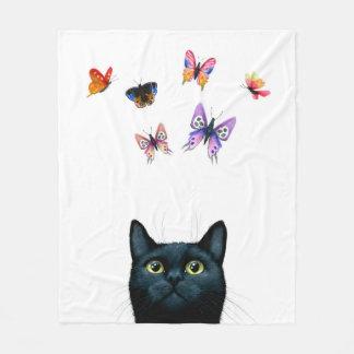 Couverture Polaire Papillons de chat noir de wh du chat 606