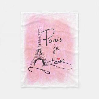 Couverture Polaire Paris je t'aime PXLY rose