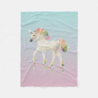 Couverture Polaire Polygone coloré de licorne d'arc-en-ciel -