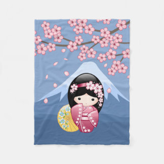 Couverture Polaire Poupée de Kokeshi de ressort - geisha japonais