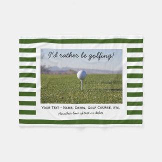 Couverture Polaire Rayures vertes et blanches de photo jouante au