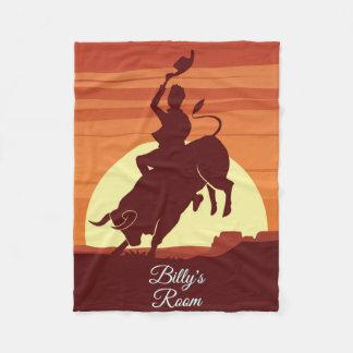 Couverture Polaire Rodéo de cowboy d'équitation de Taureau