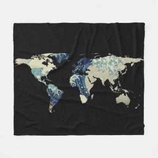 Couverture Polaire Silhouette de carte du monde - la grande vague