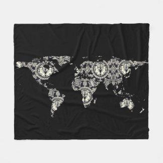 Couverture Polaire Silhouette de carte du monde - mandala modelé