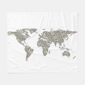Couverture Polaire Silhouette de carte du monde - mandala modelé 03