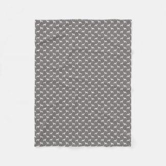 Couverture Polaire Silhouettes blanches de Weimaraner sur le gris